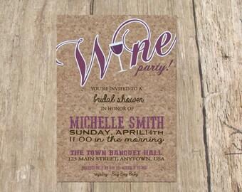 Wine Tasting Bachelorette Party Bridal Shower Invitation, Digital Printable File