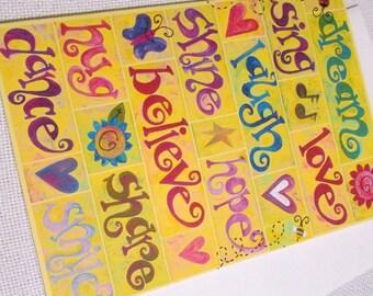 Good Words Birthday Paper Greeting Card