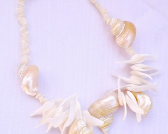 Vintage Seashell Statement Necklace - Perfect Beach or Nautical Wedding Accessory