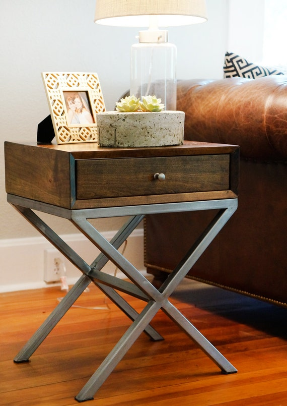 Wood And Metal Bedside Table: Industrial Mid Century Modern End Table Night By ThePlaidMill