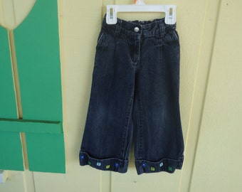 Girls Jeans with Floral Embroidery on Cuff Size 3T