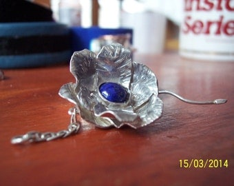 Solid sterling silver hammered flower