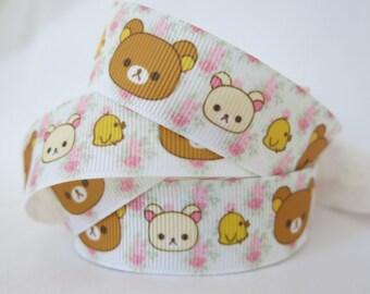 "7/8"" (22mm) Rilakkuma Relax Bear Printed Grosgrain Ribbon  GR019"