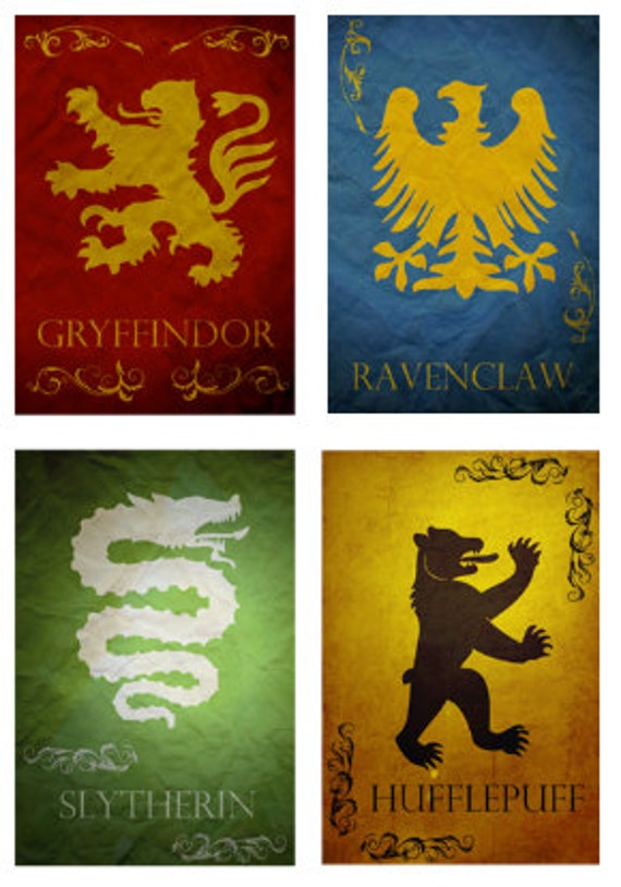 All 4 Harry Potter Hogwarts House Banners Prints Movie Posters
