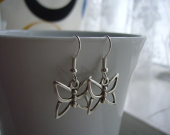 Butterfly Earrings - Antique Silver Butterfly Earrings - Butterfly  Charm Earrings - Miniature Butterfly - Nickel Free