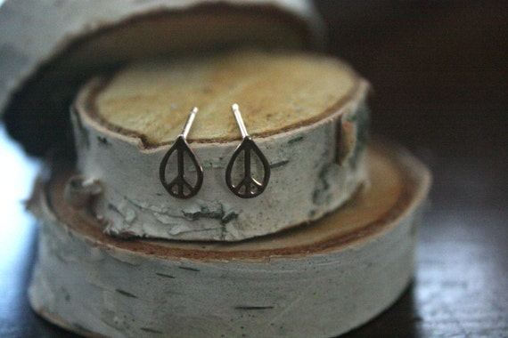 Recycled Sterling Silver Teardrop Peace Sign Earrings Made in NYC