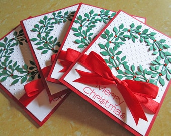 Quilted Christmas Cards Tree Christmas Card Set Holiday