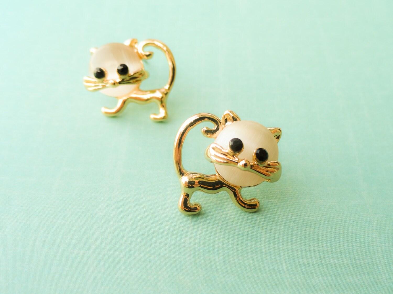 cat earrings gold cat jewelry tween jewelry by myfunnythings