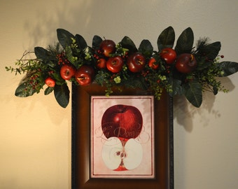 Apple swag fall swag apple decor kitchen decor wall for Apples decoration for kitchen