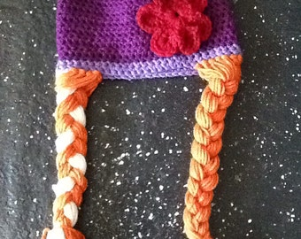 Frozen princess Anna crochet hat. Made to order. Available in infant-adult sizes.