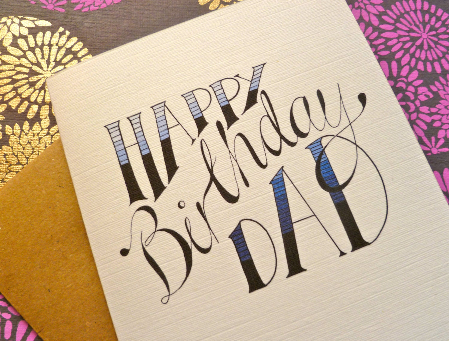 Hand lettered happy birthday card personalised name