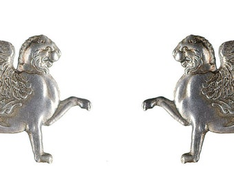 pair of sterling winged creature pins broochs 19th century