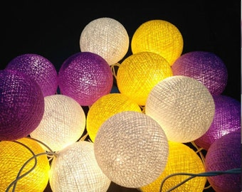 20 Lighting Purple White yellow Cotton String Lights Fairy lights Party Decor
