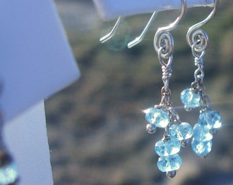 Turquoise Apatite Handforged Sterling Silver earrings