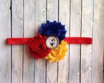 Snow White shabby chiffon flower headband