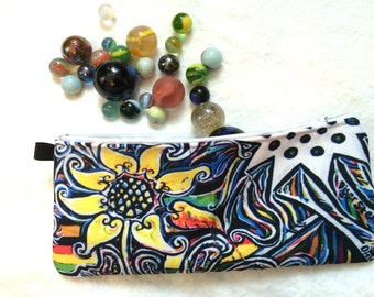Flower pencil case for her, zipper cosmetic gadget pouch, gift for teen Graffiti make up bag, street art supply storage Berlin bag