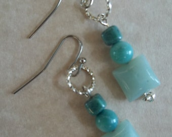 Quinn - Amazonite and silver earrings