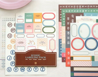 Deco Sticker Set - Iconic Labeling Pack - 11 Sheets Scrapbooking Gift Wrap Diary Deco