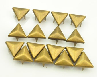 Offer For Sale DIY Cone Stud--100 pcs 10mm Steampunk antique bronze triangle studs Rivets(3 legs) PUNK Fashion