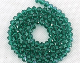 100 Pieces,Faceted Emerald Aqua Crystal Glass, Emerald Aqua Crystal Beads,One Strand,Crystal Beads,Gemstone Beads---6mm---17 inches--BR028
