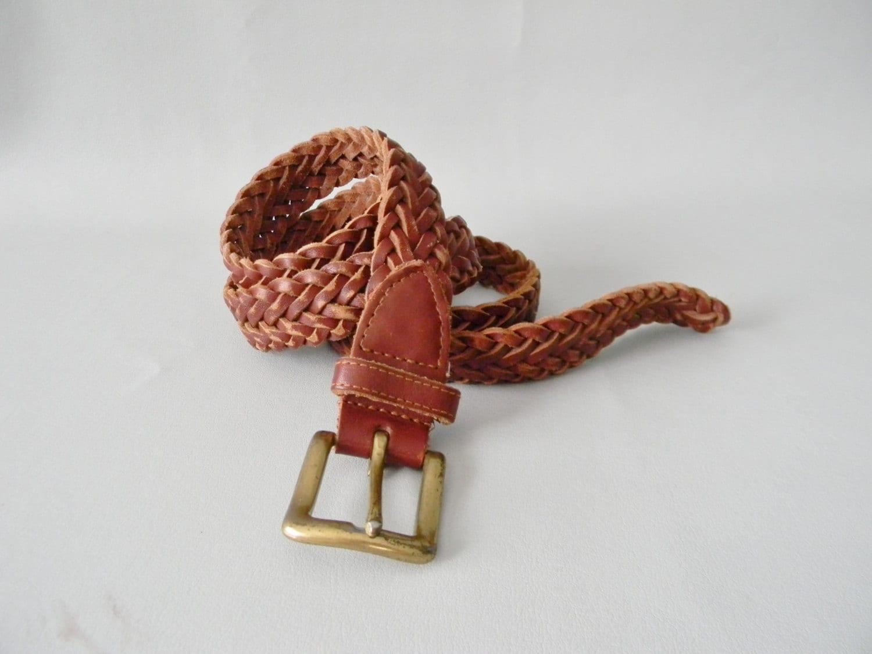 vintage brown leather woven belt