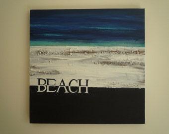 Beach texturised acrylic original painting on canvas, 30 x 30cm