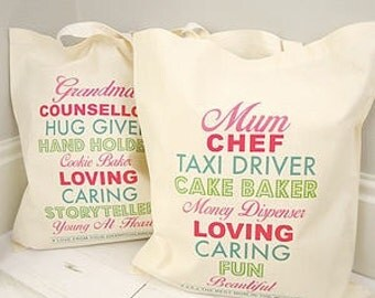 Personalised definition bag - mother's day gift - Gift for grandma - gift for aunties - best friend gift - personalised tote bag