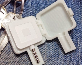 Hard Plastic Keychain Case for New Slim Square Credit Card Reader - Key Chain White