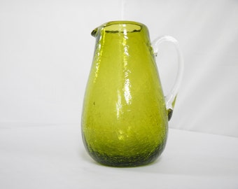 Vintage Pilgrim Pitcher - Hand-Blown Crackle Glass - Olive Green - carafe, water pitcher, home decor, housewares, collectible