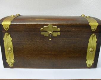 Vintage Wood Hinged Storage Box with Metal Straps Trunk Box
