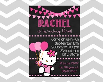 Hello kitty birthday invitation etsy hello kitty birthday invitationcard hello kitty birthday party invitation card chalkboard hello kitty stopboris Image collections