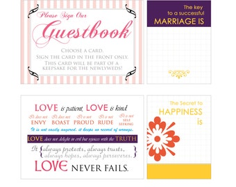 Wedding Guestbook Prompt and Journal Card Set, Reception Signage
