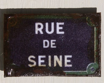 Miniature Dollhouse Tin Paris Street Sign - Rue de Seine