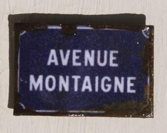 Miniature Dollhouse Tin Paris Street Sign - Avenue Montaigne