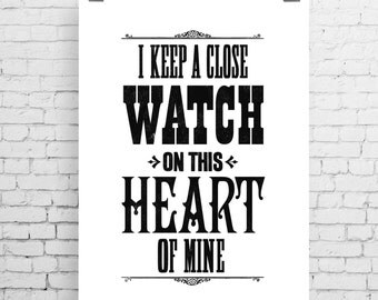 Johnny Cash song lyric art, Johnny Cash art print, music inspired print, typographic print, I Walk The Line, Johnny Cash print