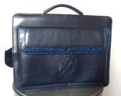 Vintage 1980's Navy Blue Leather Handbag / BELLE ROSE / Excellent Vintage Condition