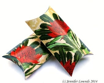 Printable gift box favour box Pillow Box printable boxes digital file Australian Native Waratah red flowers