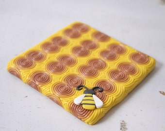 Polymer Clay Coasters-  Filigree Bee on Honeycomb - MADE TO ORDER