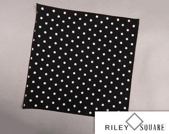 White Polka Dot Pocket Square/White Polka Dots on Black/Wedding Handkerchief/Fashion Accessories