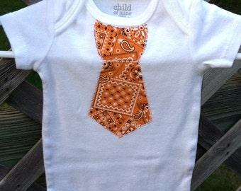Orange Bandana Pattern Tie Onsie Newborn 0-3 Month