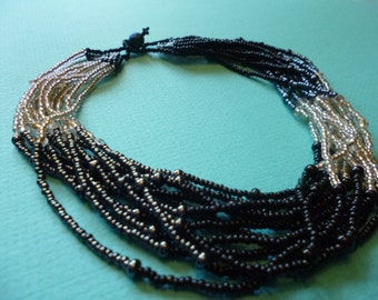 Hippie Choker Vintage Beaded Necklace Tribal Beads