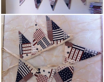 Stars & stripes fabric bunting 7 flags