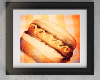Vegan Hot Dog Photo Food Photography Orange Yellow Kitchen Restaurant Art Print Wall Decorations Still Life