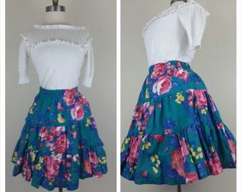 50s Hawaiian Skirt Swing Style Ruffled Green Floral Skirt M