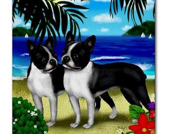 BOSTON TERRIER DOGS Beach Sand Art Ceramic Tile Coaster