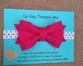 hot pink bow headband, Gold headband, bright pink headband, , gold polka dot headband, felt bow