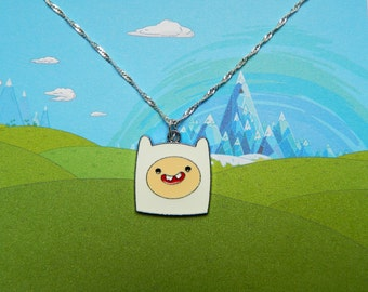 Adventure Time silver necklace with Finn the human charm  Free UK Postage!