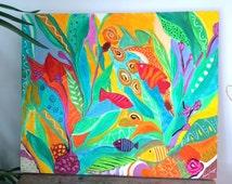 Tropical Fish Caribbean Art Painting Acrylic Mixed Media Colorful Vibrant Painting
