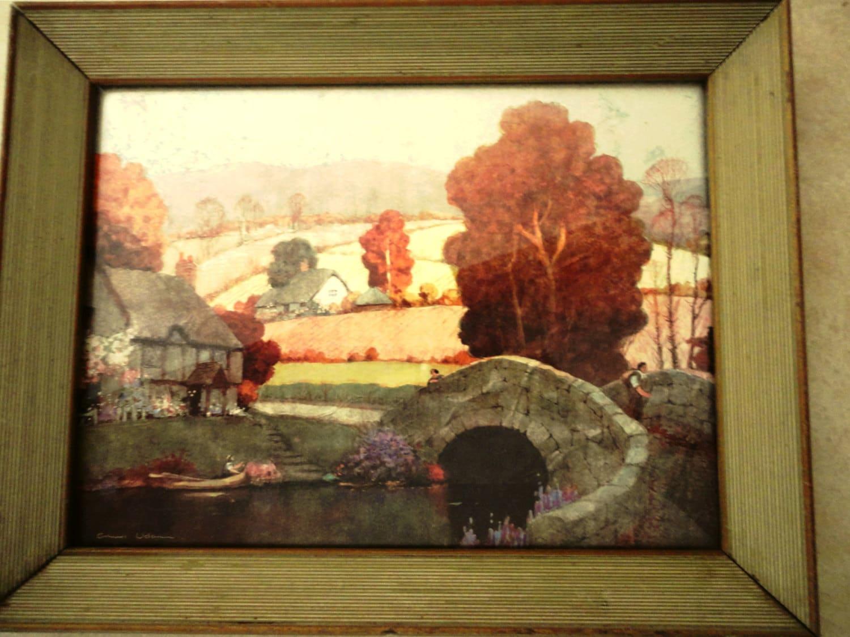 Vintage Ernest Uden Foil Lithograph The Cottage