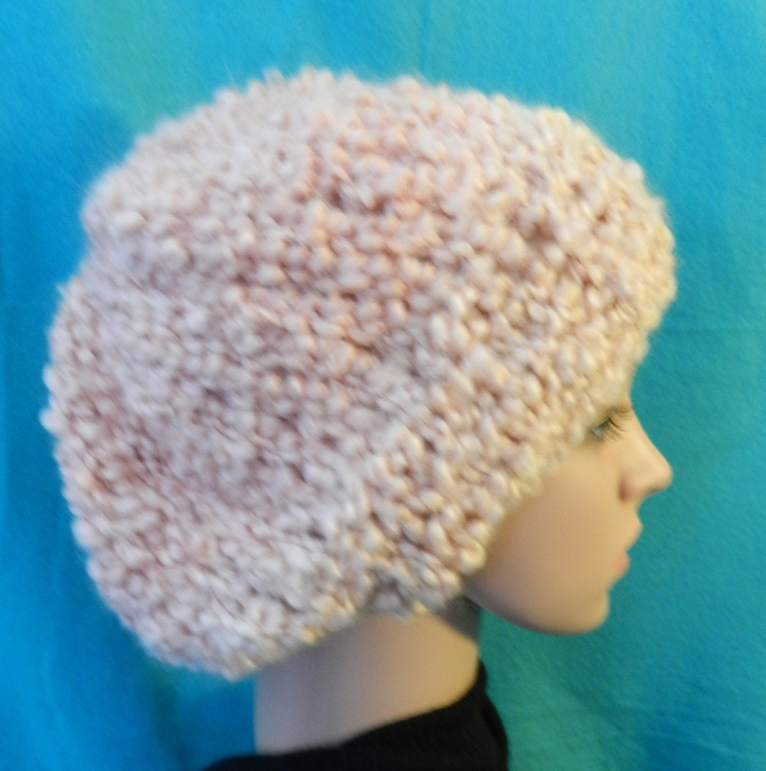 Knitting Patterns Red Heart Light Lofty : Cream Light and Lofty Chunky Knitted Slouchy Bulky Hat ET